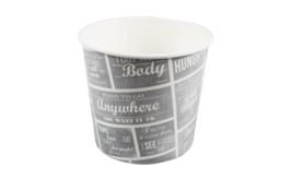 Food bucket grijs/wit karton met coating 2150ml