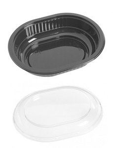 Plastic salade bakje zwart ELLIPS 250ml met deksel
