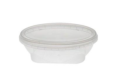 Plastic bakje ovaal 250ml met deksel
