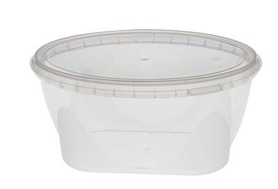 Plastic bak ovaal 1100ml met deksel
