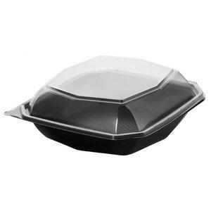 Plastic bakjes zwart met deksel octaview