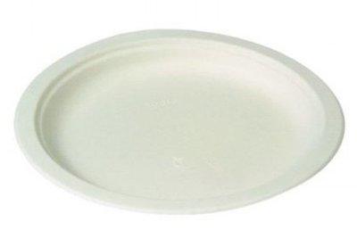 Wegwerp borden suikerriet wit 23cm Bio