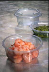 Plastic salade bakje helder 7 hoekig 250ml met deksel